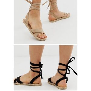 Set of 2 ASOS flat espadrille sandals with ties